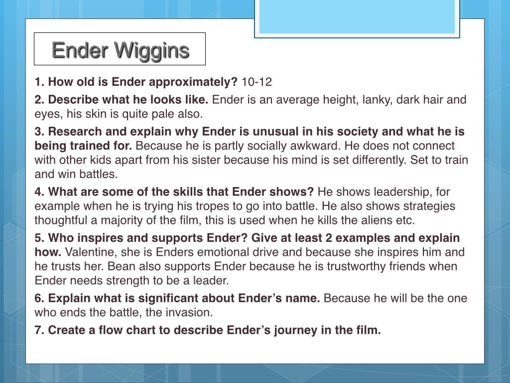 enders game essay introduction Essays - largest database of quality sample essays and research papers on leadership in enders game.